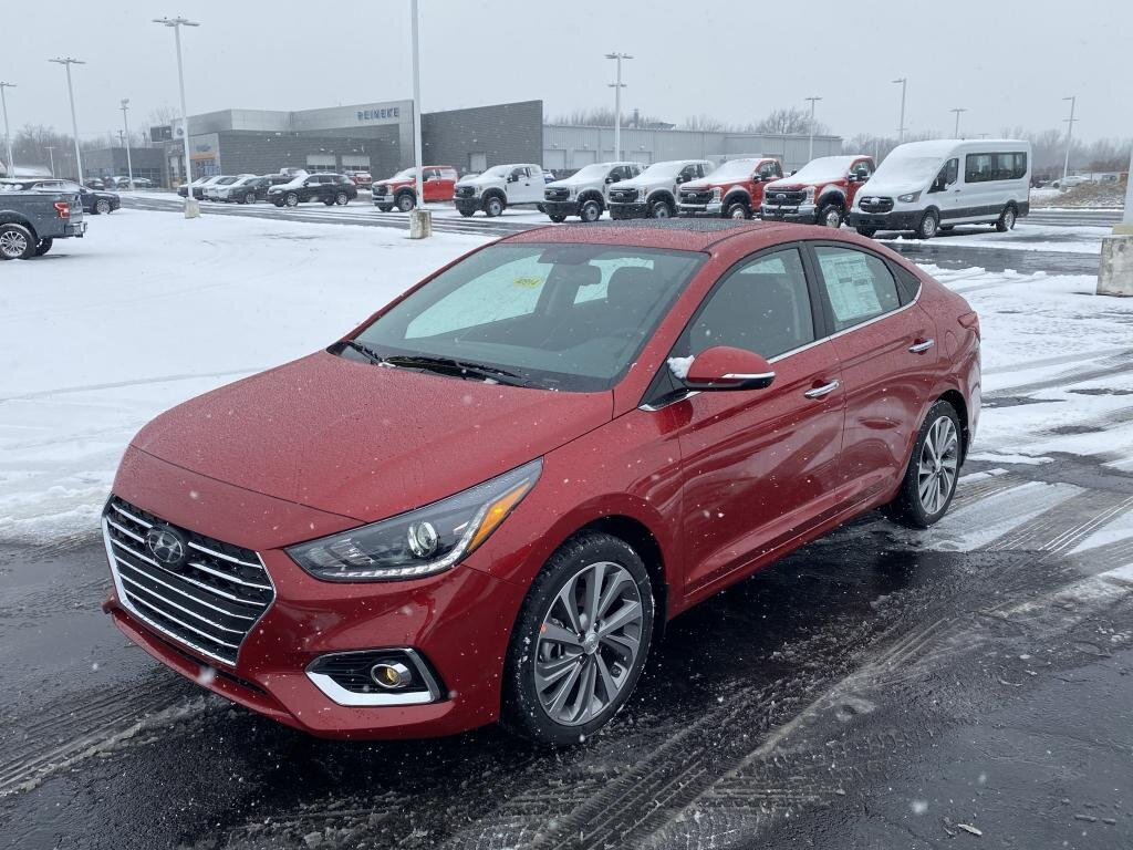 2021 Pomegranate Red Hyundai Accent Limited FWD 1.6 liter 4 Cylinder Engine Car