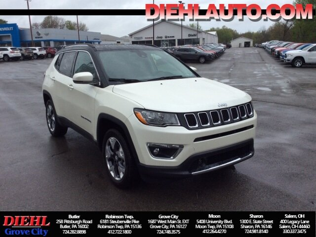 2021 Pearl White Tri-Coat Jeep Compass Limited 2.4L I4 Engine 4 Door 4X4 Automatic