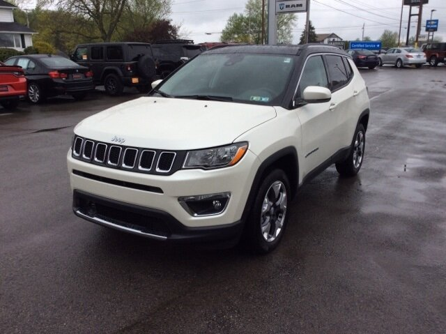 2021 Pearl White Tri-Coat Jeep Compass Limited 4X4 SUV 2.4L I4 Engine Automatic 4 Door