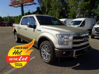 2017 White Gold Ford F-150 Limited Automatic 4X4 EcoBoost 3.5L V6 GTDi DOHC 24V Twin Turbocharged Engine Truck
