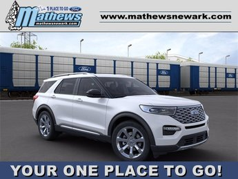 2020 Star White Metallic Tri-Coat Ford Explorer Platinum SUV AWD 4 Door 3.0 L 6-Cylinder Engine Automatic
