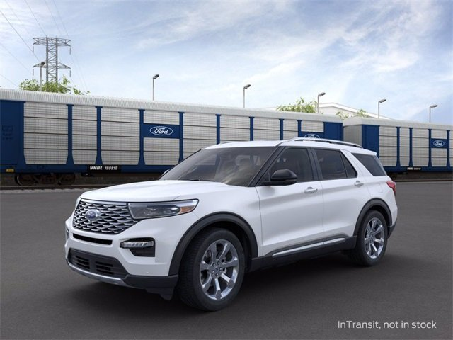 2020 Star White Metallic Tri-Coat Ford Explorer Platinum SUV Automatic AWD 3.0 L 6-Cylinder Engine 4 Door