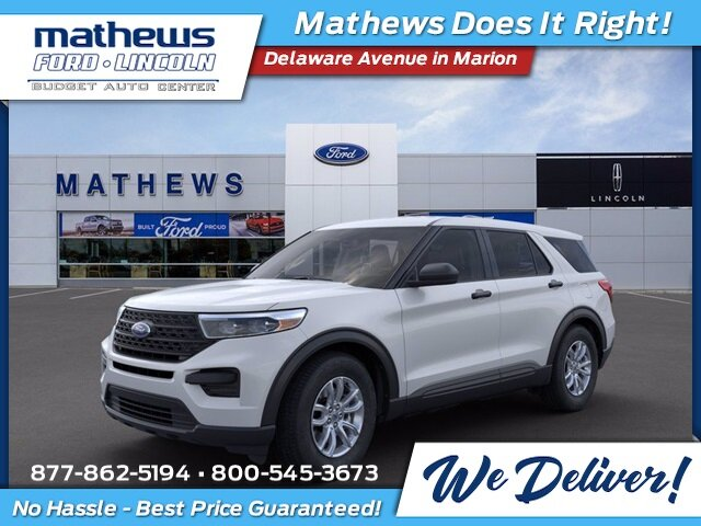 2021 Oxford White Ford Explorer Base SUV 4X4 4 Door Automatic EcoBoost 2.3L I4 GTDi DOHC Turbocharged VCT Engine