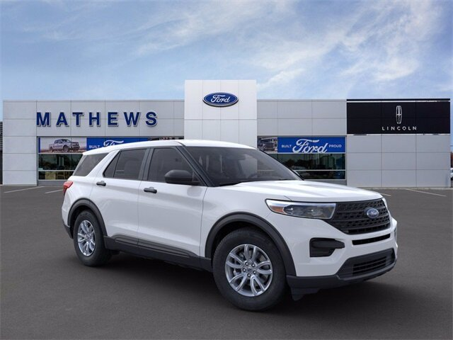 2021 Oxford White Ford Explorer Base 4X4 4 Door Automatic EcoBoost 2.3L I4 GTDi DOHC Turbocharged VCT Engine SUV