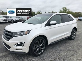 2016 White Platinum Metallic Tri-Coat Ford Edge Sport AWD 4 Door 2.7L V6 Ecoboost Engine SUV