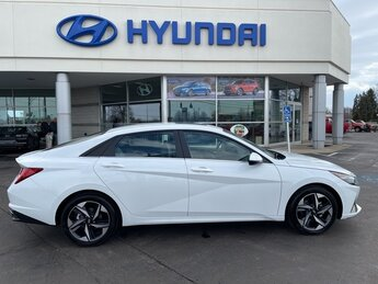 2021 Quartz White Hyundai Elantra Limited 4 Door Car FWD 2.0L 4-Cylinder DOHC 16V Engine