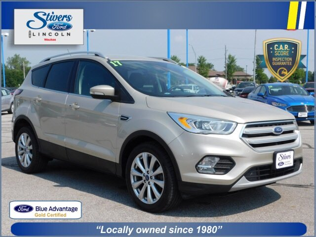 2017 White Gold Metallic Ford Escape Titanium Automatic EcoBoost 1.5L I4 GTDi DOHC Turbocharged VCT Engine SUV 4 Door FWD
