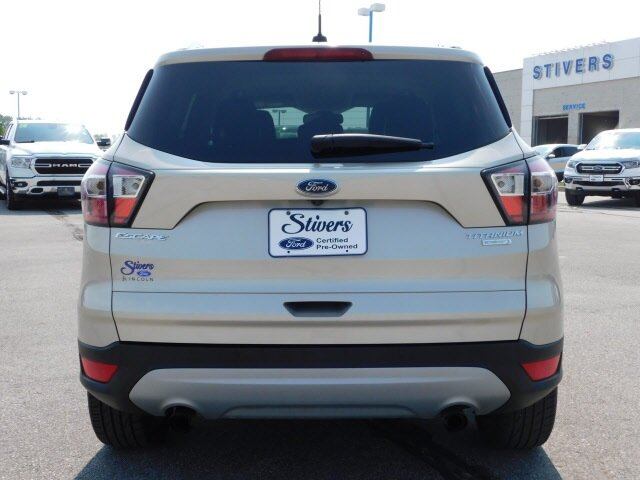 2017 White Gold Metallic Ford Escape Titanium Automatic 4 Door EcoBoost 1.5L I4 GTDi DOHC Turbocharged VCT Engine FWD