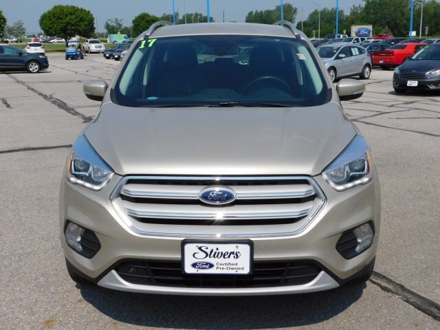 2017 White Gold Metallic Ford Escape Titanium 4 Door Automatic EcoBoost 1.5L I4 GTDi DOHC Turbocharged VCT Engine