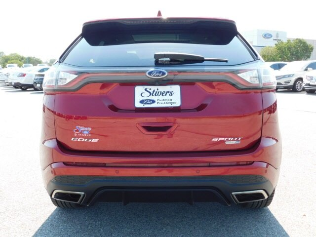 2018 Ruby Red Metallic Tinted Clearcoat Ford Edge Sport EcoBoost 2.7L V6 GTDi DOHC 24V Twin Turbocharged Engine AWD 4 Door SUV